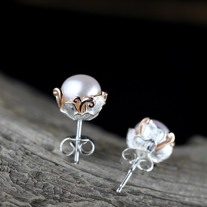 Sterling Silver Jewelery Handmade Ladies Pearl Earrings