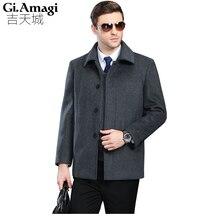 عالية الجودة ماركة كبيرة الحجم 4xl الخريف الشتاء الرجال التلبيب سميكة الصوف معطف من قماش الكشمير الرجال الكشمير منتصف العمر الذكور قصيرة سترة