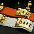 new Hot Leather Bracelet Bangle for women cuff style wristbrand bracelet wholesale free shipping Metal rivets punk style