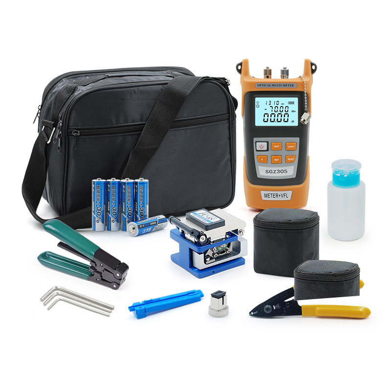 FTTH Fiber Optic Tool Kit with FC 6S Fiber Cleaver and Optical Power Meter 5MW Visual