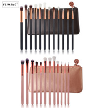 12Pcs/Bag Professional Eyeshadow Makeup Brushes with PU Case Cosmetic Tools Kit Eyelash Eyebrow Lip Makeup Blush Brushes PU Case 120 vivid charming colors eyeshadow with gold leather clutch bag shaped case professional makeup kit cosmetic set