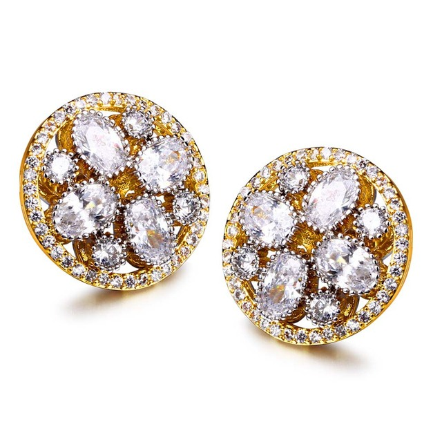 Elegant Jewelery New Top Quality Fashion Prong Setting Cubic Zircon Brass metal Bridal Earrings Jewelry flower stud earrings