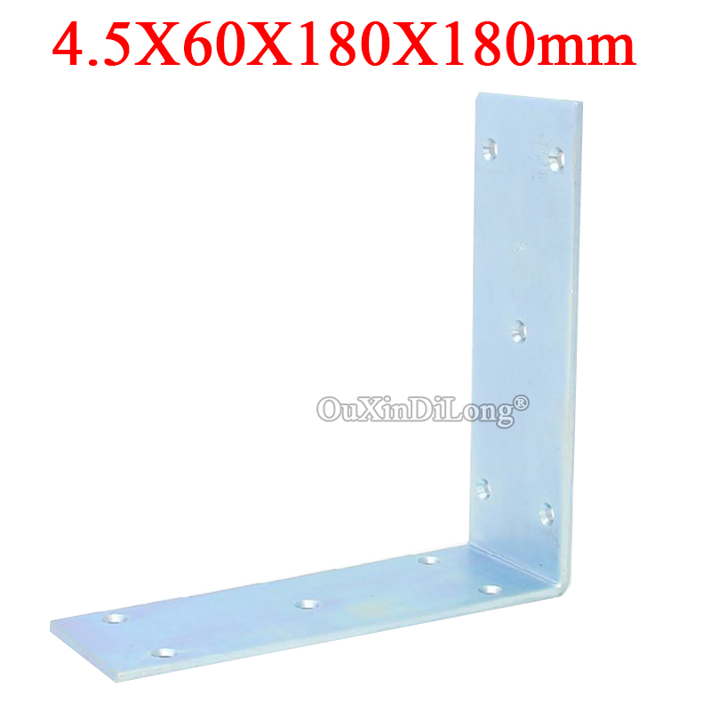 2PCS Metal Right Angle Corner Braces L Shape Furniture Connecting Fittings Frame Board Shelf Support Brackets 4.5X60X180X180mm ned 10pcs 20x20mm practical stainless steel corner brackets joint fastening right angle thickened brackets for furniture home