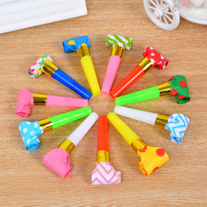 10Pcs/set Kawaii Colorful Funny Whistles Kids Childrens Birthday Party Dots Blowing Dragon Blowout Toys Gift Accessory Supplies
