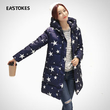 Women Fashion Coat Slim Fit High Neckline Lady Hooded Jacket With Star Print Regular Length Thick