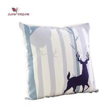 Slowdream Nordic Forest Deer Cartoon Cushion Cover Soft Pillow Cases Bedroom Sofa Decoration Home Textiles 40x40cm 1pcs