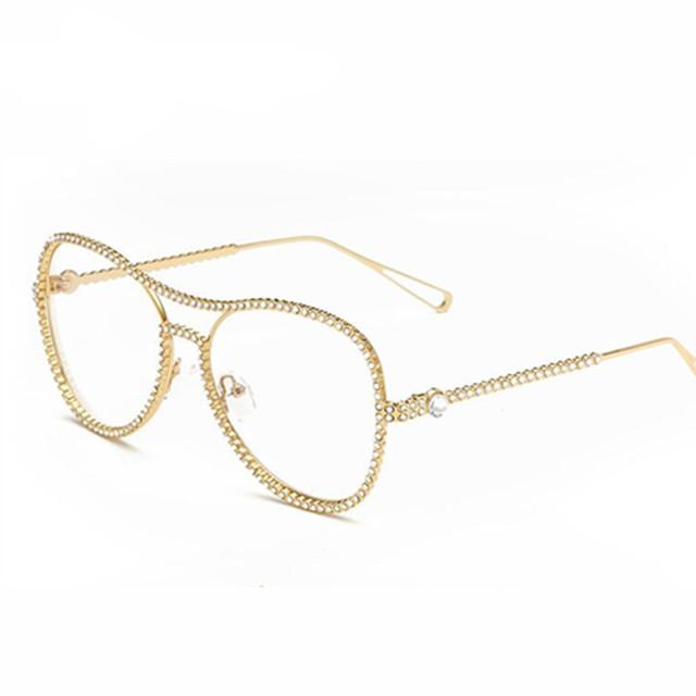 2017 das mulheres da moda diomand big armação de óculos para Óculos de marca Senhoras do sexo feminino Óculos Simples frame de espetáculo oculos7007