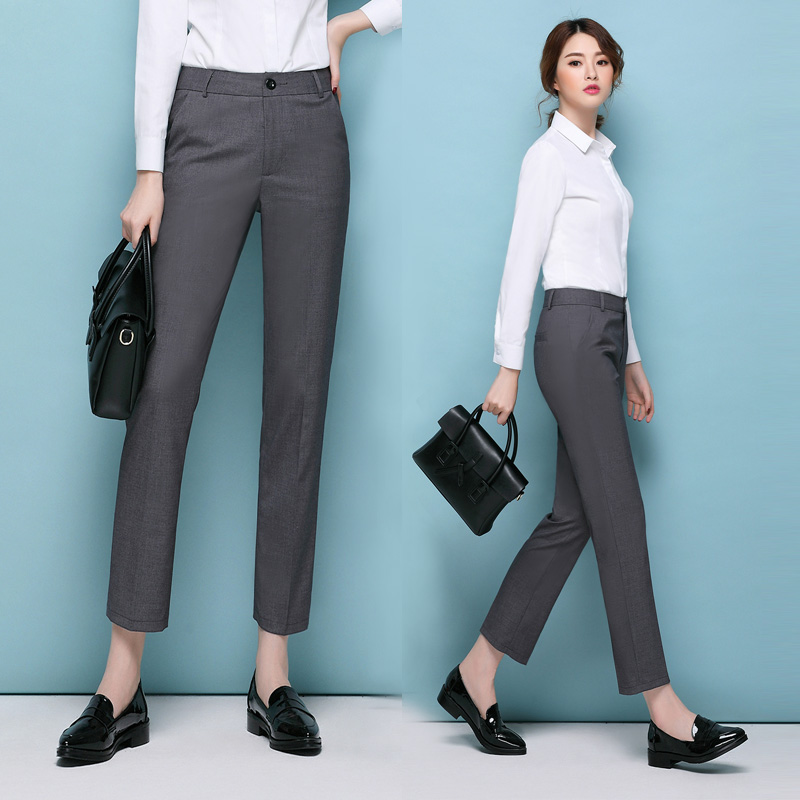 Black Grey Formal   Pants   Women Slim Hip Straight   Pant     Capris   Female Work OL Suit   Pants   Mid Waist Career Autumn Straight   Pant   3XL