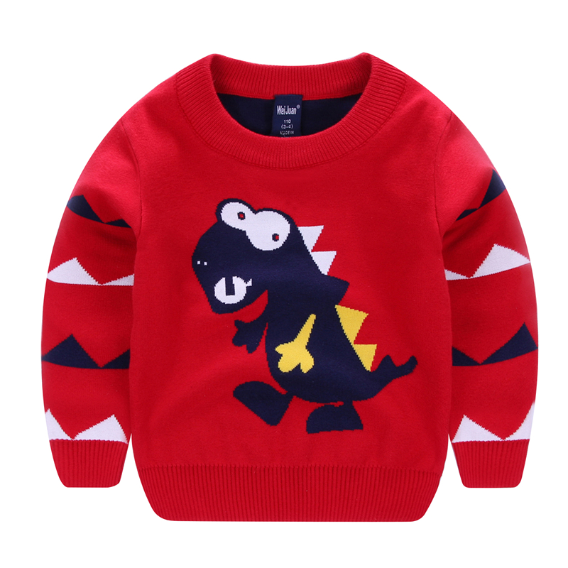 Cardigan Children Cartoon O-Neck Tops Boys Sweaters Knitted Pullover Cotton Christmas Sweaters Boys
