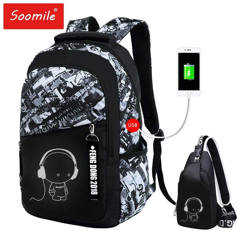 School Backpack 2PCS Set USB Multifunctional Student School Bag For Teenagers Men Canvas Notebook Laptop Backpack Travel Mochila