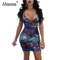 Abasona Women Sequin Dresses Evening Party Wear Sleeveless Summer Dress Sexy V Neck Bodycon Pencil Dress