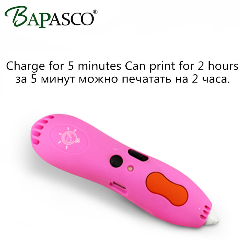 Original Bapasco 3D Pen Wireless 3D Magic Pen low Temperature Display lamp Charge 3D Doodle Pen For Kids Intelligent 3D Graffiti