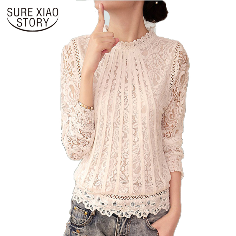 2016 New Summer Ladies White Blusas Women's Long Sleeve Chiffon Lace Crochet Tops Blouses Women Clothing Feminine Blouse 51C