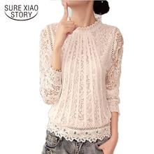 2016 Baru Musim Panas Wanita Blusas Putih wanita Lengan Panjang Chiffon Lace Crochet Tops Blus Wanita Pakaian Blus Feminin 51C
