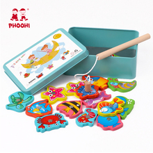 Magnetic Fishing Baby Wood Toys Educational Game Fish Puzzle Wooden Table for Kid Toy  Magnet