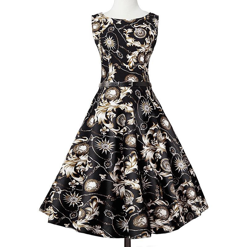 Kostlish Elegant Print Women Summer Dress Sleeveless Cotton Hepburn 50s 60s Vintage Dress With Belt Casual A-Line Ladies Dresses (16)
