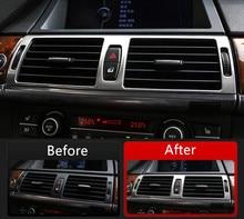Центральной консоли кондиционер выходе рамка украшения Накладка для BMW X5 E70 X6 E71 2008-14 Нержавеющаясталь автомобиля стиль