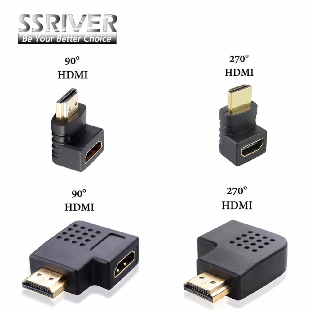SSRIVER HDMI male to HDMI female cable adapter converter extender 90 degrees angle 270 degrees angle for 1080P HDTV hdmi adapter цена и фото