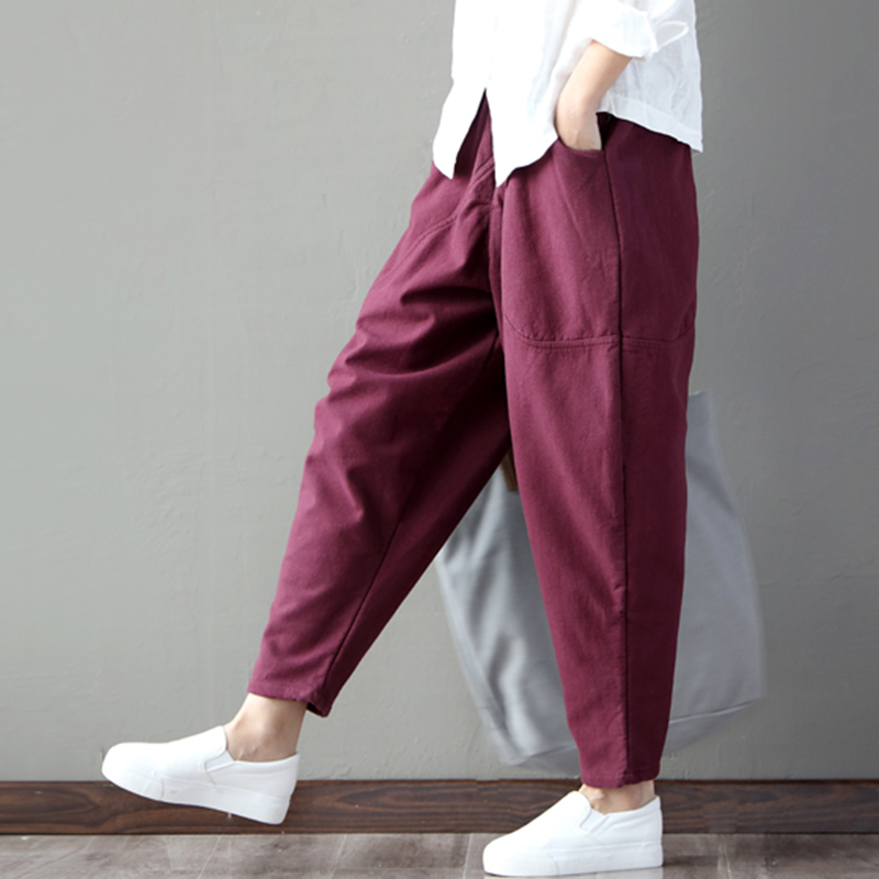 Vintage Women Loose Solid Harem Pants Elastic Waist Ankle Length Trousers Ladies Casual Holiday Pocket Hip Pants