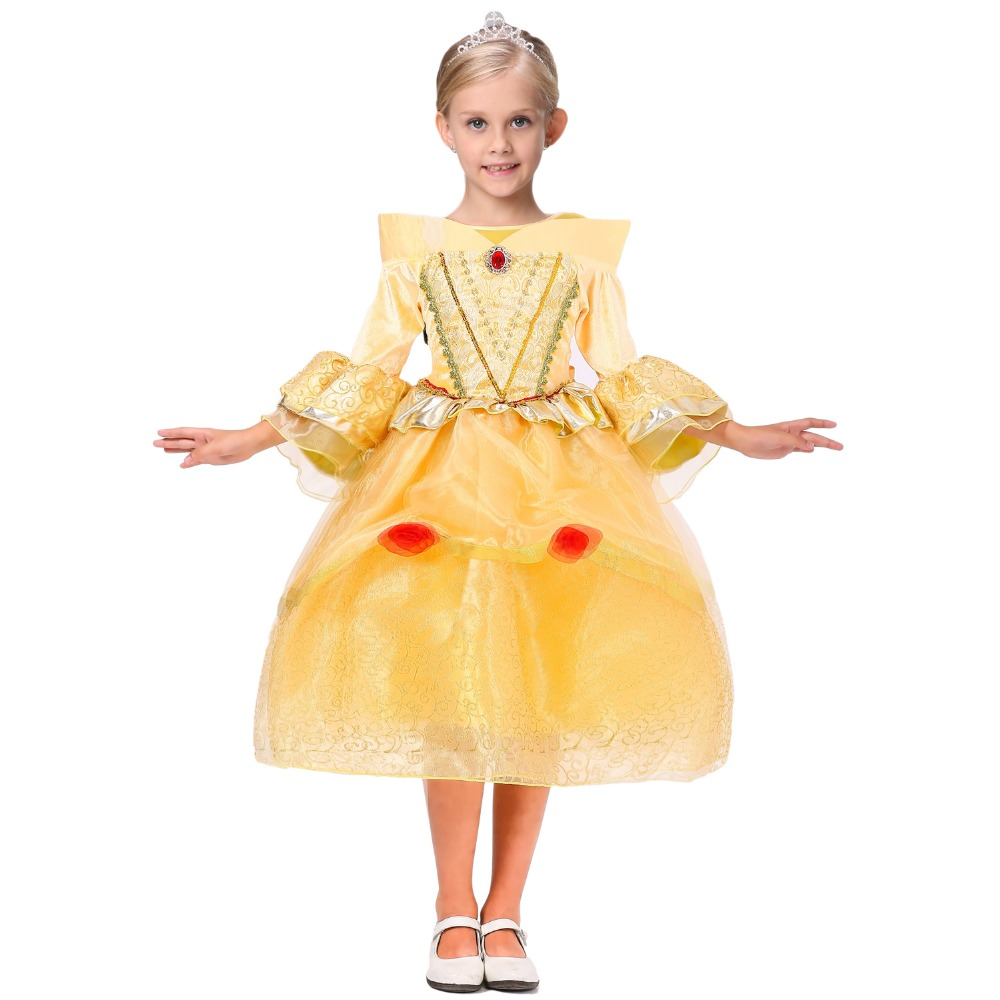 Pretty Girl Fancy Frocks Yellow Cinderella Party Dress For Girls Kids High Quality Birthday Clothes Teenagers Costume Long Dress
