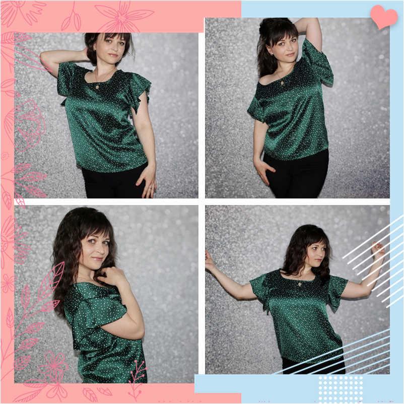 Dotfashion グリーン蝶スリーブポルカドットブラウス夏 2019 かわいいキャップスリーブ韓国ファッション服レディーストップスとブラウス