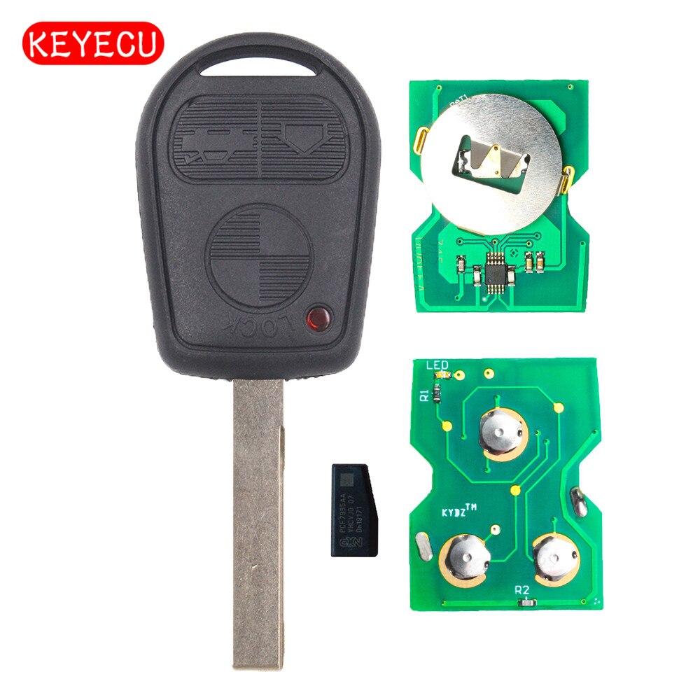 Keyecu ews pode freqüência ajustável 3 botão remoto chave fob 315/433 mhz id44 chip para bmw antigo 3 5 7x5x3 z4 e38 e39 e46 hu92