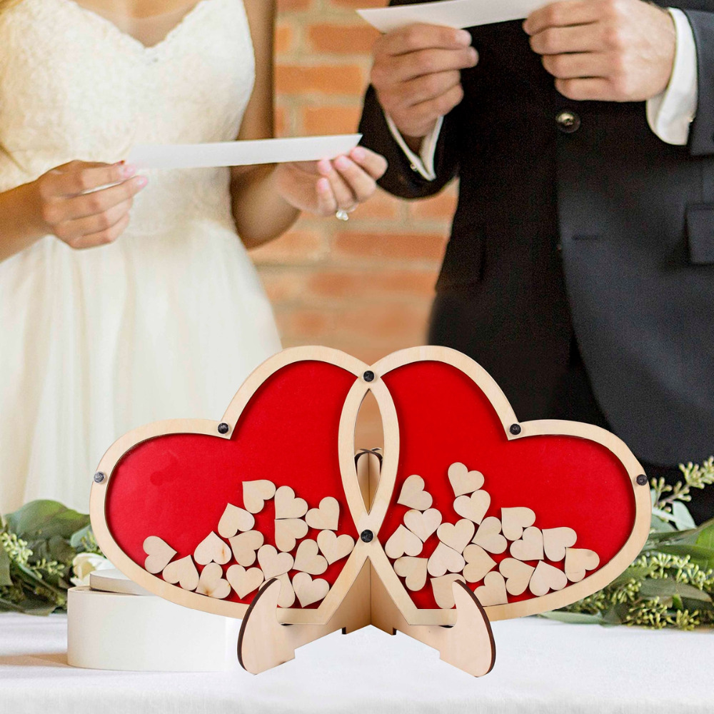 FENGRISE  Personalized Double Heart Signature Wedding Guest Book Decor Guestbook Gift Keepsake Box