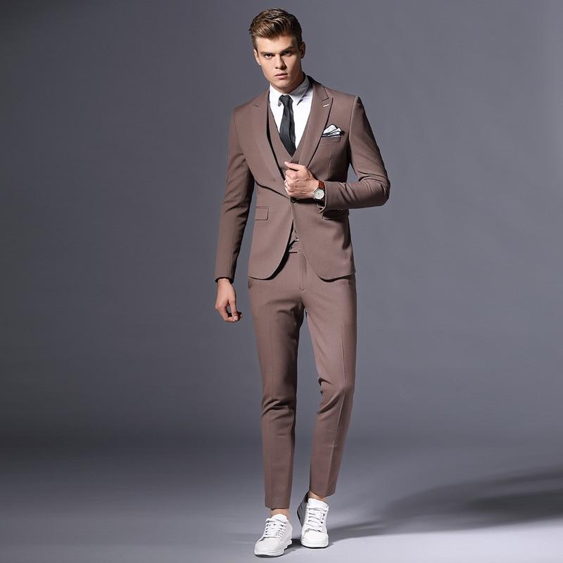 Для Мужчин's Для мужчин набор с лацканами Однобортный тонкий Для мужчин костюм тройка Для Мужчин's Бизнес Повседневное Индивидуальные разме