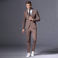 Men's Men's Set Lapel Single Breasted Slim Men's Suit Three Piece Suit Men's Business Casual Customized Size & Color