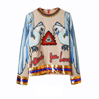 Women Sweater Sequined Letters Parrots Embroidery Zipper Cardigans Women 2017 Winter Knit Thick Wool Pullovers Sweaters