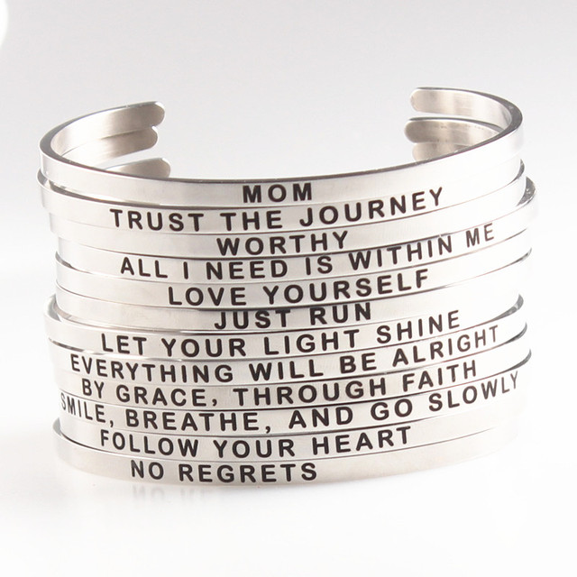 4mm Inspirational Quote Engraved Mantra Bracelet Mom Worthy Love