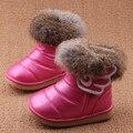 Botas Para la Nieve niña 2016 Nuevo Pelo de Conejo de Invierno Cálido Niños Tobillo Blanco Rosa Roja Niños Zapatos Niños Zapatos de Las Muchachas Botas Eur21-30