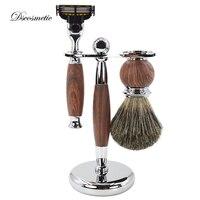 DS Men Shaving Kit Hair Removal Cleaning Shaving Brush + Shaver Razor Holder Stand +metal Handle Razor Shaving Brush Set For Man