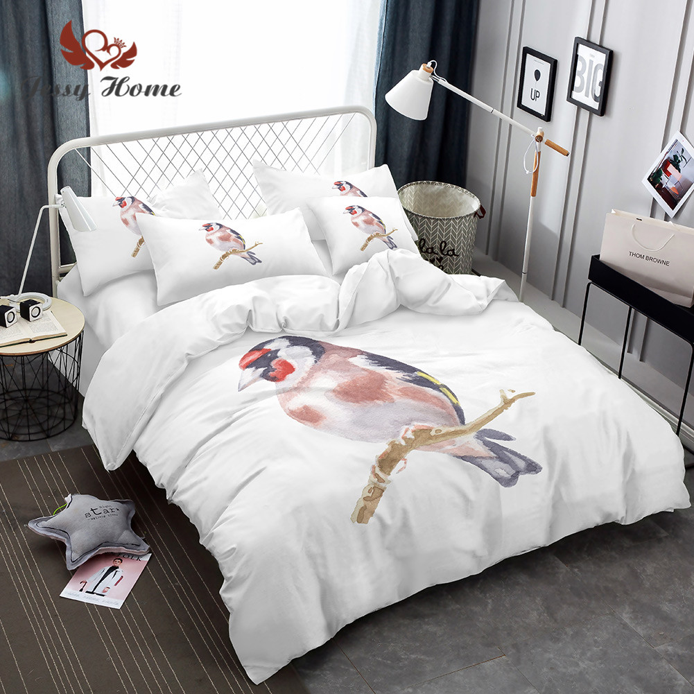 Carduelis Cartoon Bedding Set Cute Colorful Animal Duvet Cover Set Printed Bird Bedclothes 3pcs US/AU/RU Size M1045Carduelis Cartoon Bedding Set Cute Colorful Animal Duvet Cover Set Printed Bird Bedclothes 3pcs US/AU/RU Size M1045