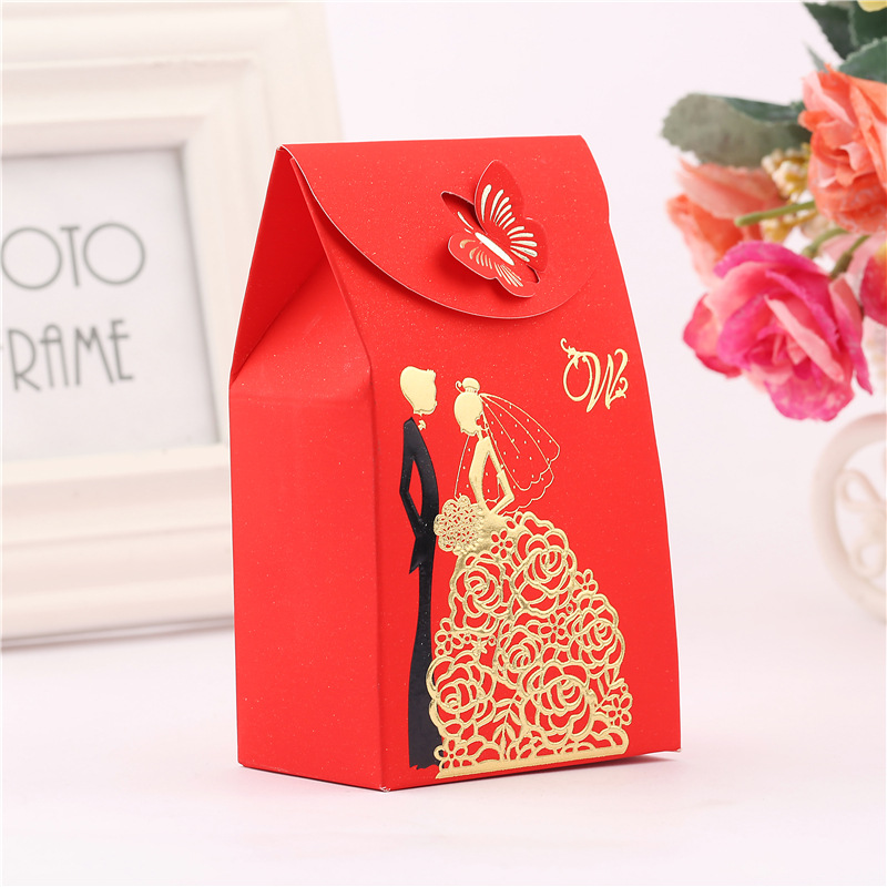 10pcslot Butterfly Chocolate Wedding Favor Candy Box Groom And