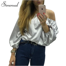 Off shoulder autumn t shirt women 2016 satin glossy lantern sleeve t-shirts tops ladies fashion slash neck female t-shirt sale