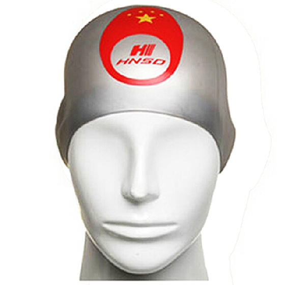 HNSD Silicon Swimming Hat Cover Protect Ear Long Hair Waterdrop Swimming Caps Silver Gray