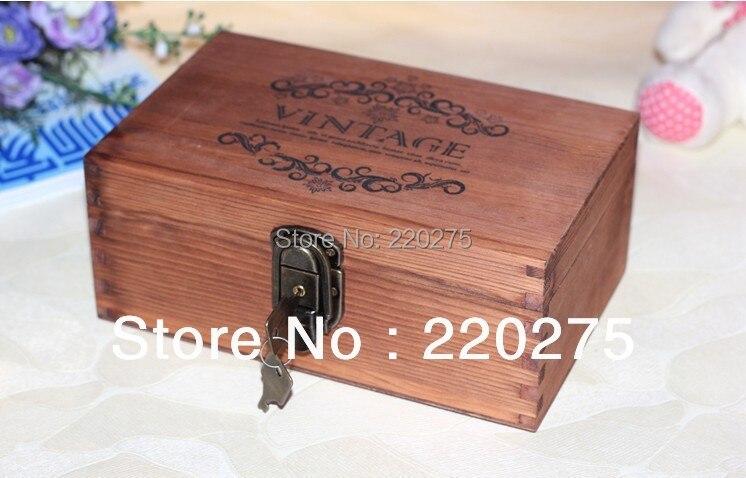 vintage good quality zakka vintage retro desktop wood storage box finishing wooden box lockable storage box