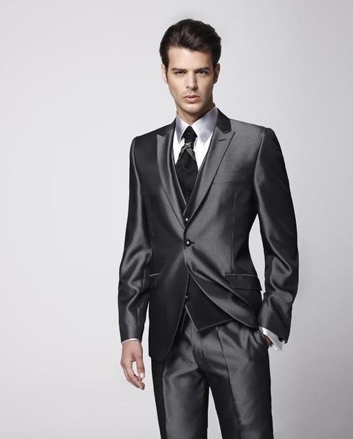 2016 Groom Tuxedo Groomsmen Shiny Charcoal Gray Wedding/Dinner ...