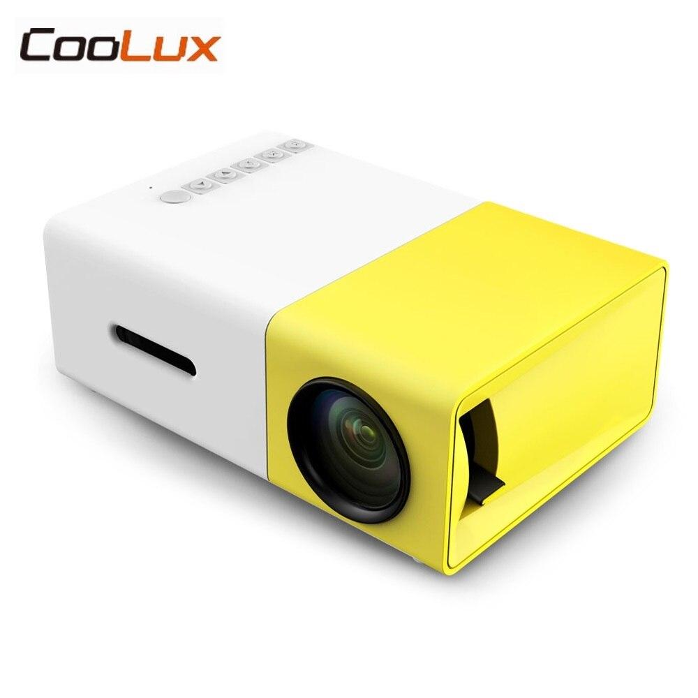 Coolux YG300 YG-300 ЖК-дисплей светодиодный Портативный проектор мини 400-600LM 1080 P видео 320x240 пикселей светодиодный светильник плеер Best главная протек...