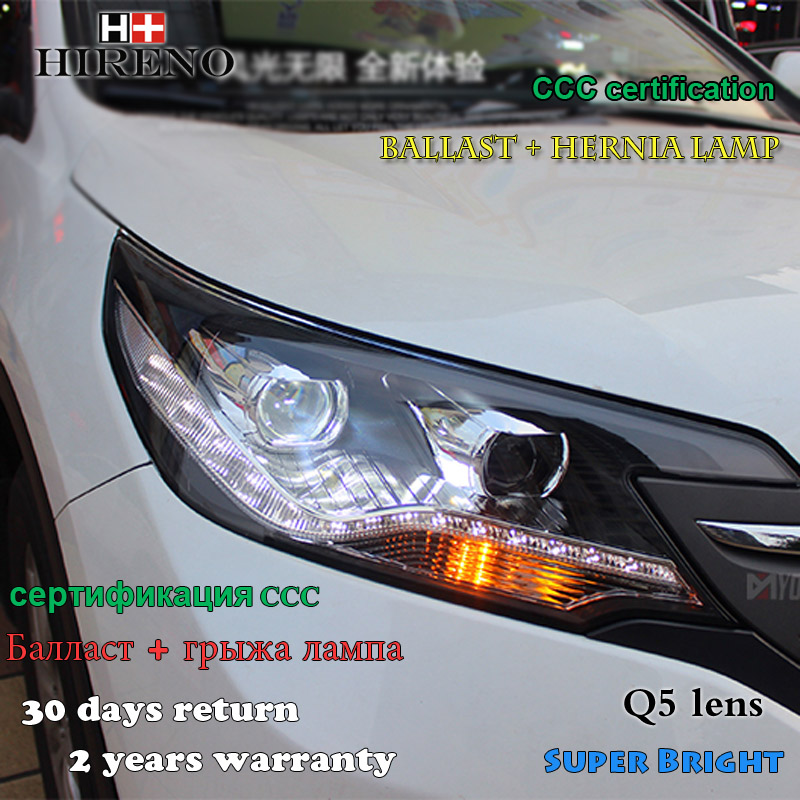 Hireno Car styling Headlamp for 2012-14 Honda CRV CR-V Headlight Assembly LED DRL Angel Lens Double Beam HID Xenon 2pcs hireno car styling headlamp for 2003 2007 honda accord headlight assembly led drl angel lens double beam hid xenon 2pcs