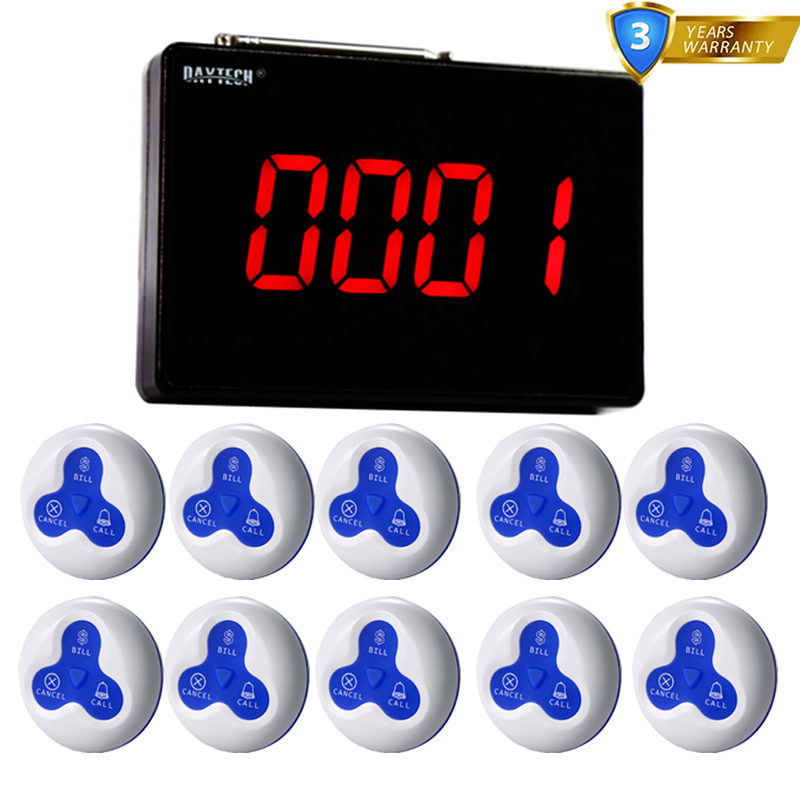 DAYTECH Queue Wireless Calling System Call Button Waterproof 1PCS Panel Display 10PCS Call Button 433MHZDAYTECH Queue Wireless Calling System Call Button Waterproof 1PCS Panel Display 10PCS Call Button 433MHZ