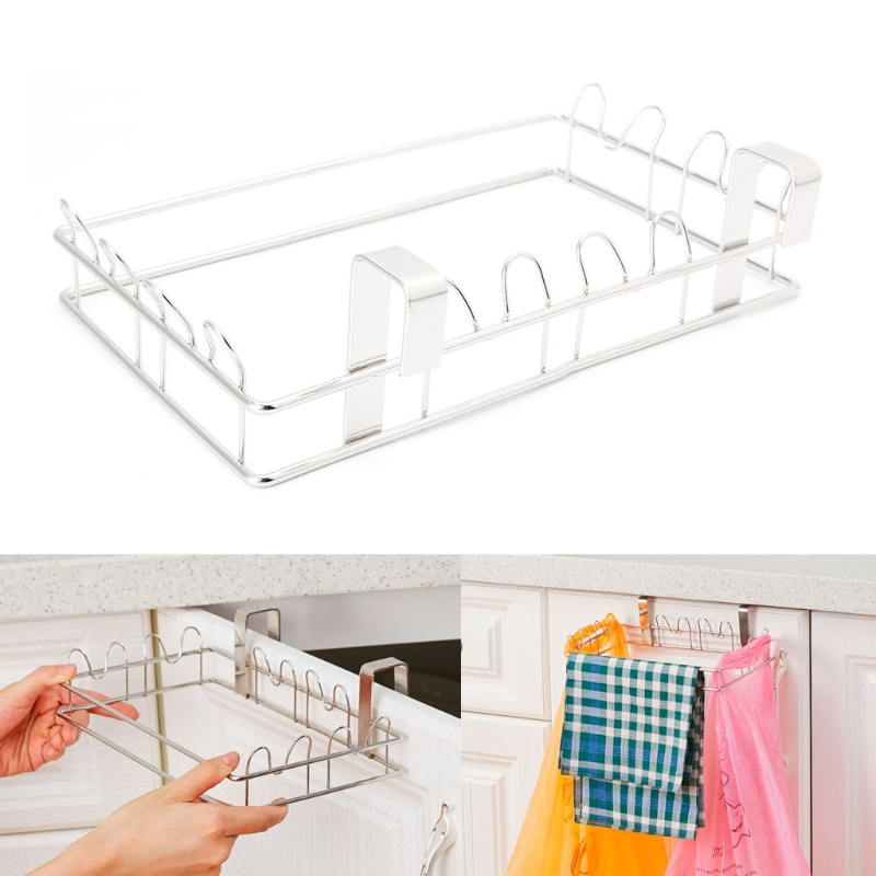 Kitchen Stainless Steel Hanger Cupboard Trash Bags Holder Garbage Hanging Rack Home Storage Organization Hooks Rails