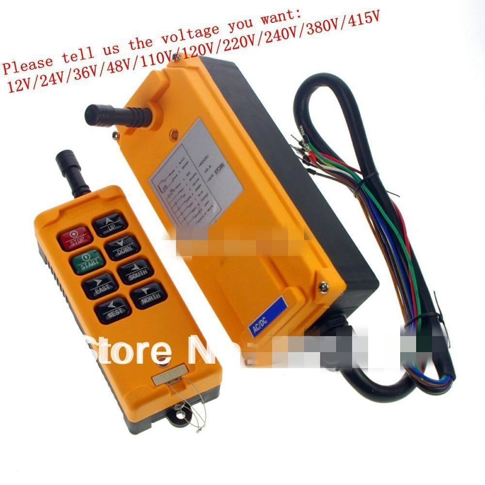 8 Channels 1 Speed  Control Hoist Crane Radio Remote Control System 12V/24V/36V/48V/110V/120V/220V/240V/380V/415V
