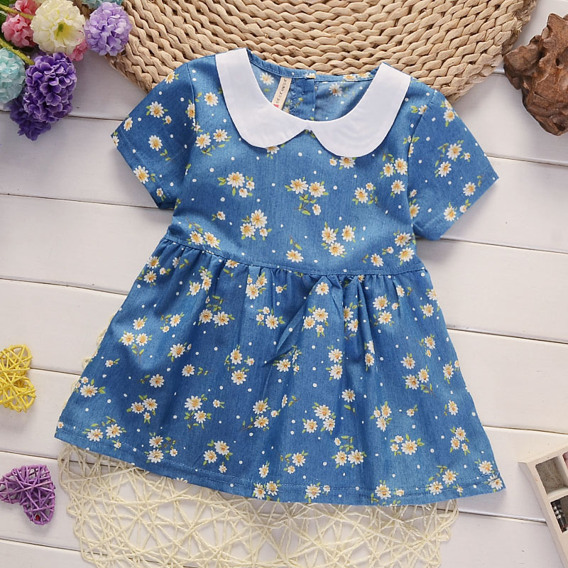 2018 New Fashion Brand Girls 0-4 Years Summer Floral Jeans Dress Baby Pure Cotton Short-Sleeved Denim Children Big Bow Casual mens denim shorts straight casual knee length jeans big size 38 hole 2016 new fashion summer men short jeans classic blue s225
