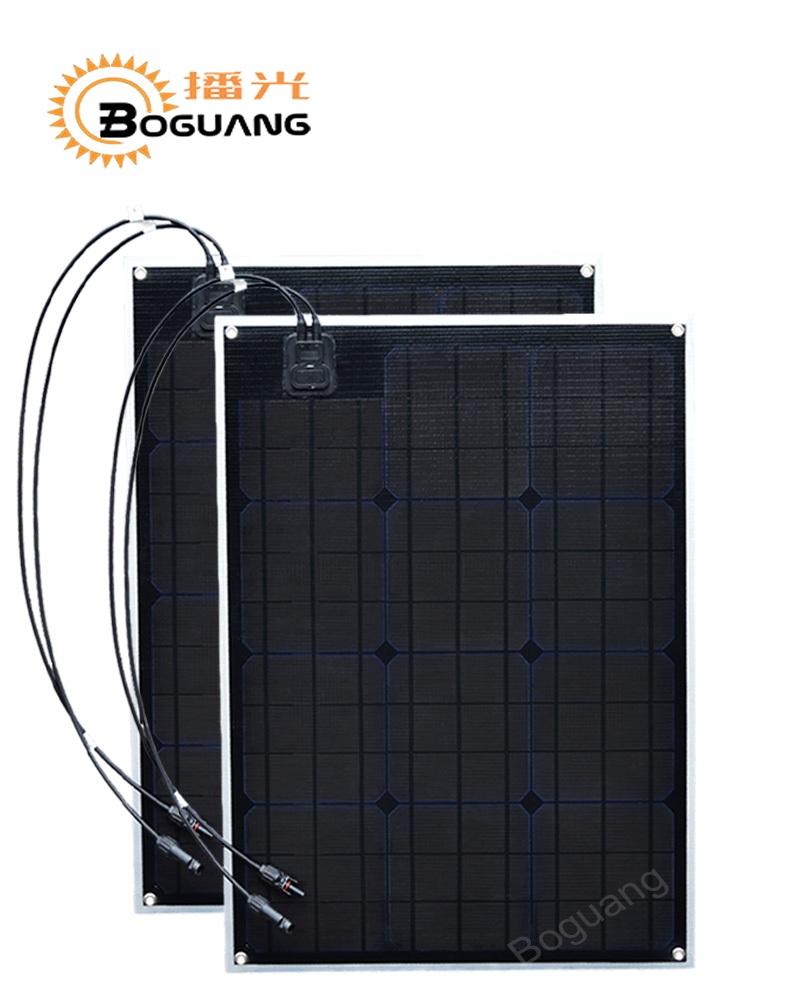 2pcs 50w ETFE solar panel PCB module Monocrystalline cell 100watt MC4 connector for 12v battery light RV yacht car power charge цена и фото