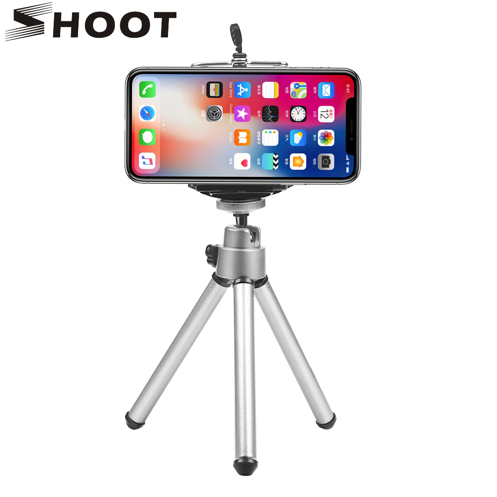 SHOOT Mini Flexible Tripod for iphone 11 Pr XR 8 Samsung Xiaomi Huawei Cell Phone With Phone Clip Tripod Stand for Mobile Phone