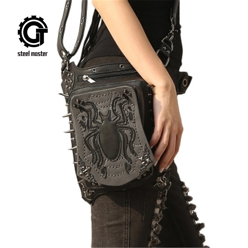 Women Gothic Retro Rock Leg Bags Steampunk Spider Waist Bag Cross Body Bag Black Leather Phone Case Holder 2017 New Fashion