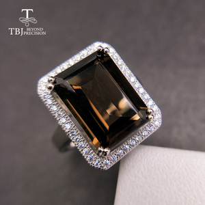 Image 1 - TBJ,Classic big size gemstone ring with Natural smoky oct10*14mm in 925 sterling silver special gemstone jewelry gift for women