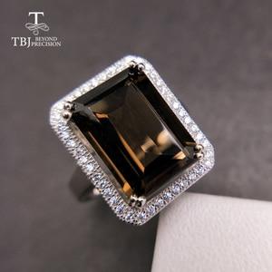 Image 1 - TBJ bague classique en pierres précieuses de grande taille, bijoux en pierres précieuses, avec fumée naturelle oct10 * 14mm en argent sterling 925, cadeau pour femmes